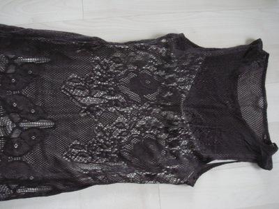 Brązowa dwuwarstwowa koronkowa sukienka r.XS/S