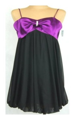d9c5a8670 Czarna sukienka bombka fioletowy brokat bez pleców 7149354172 ...
