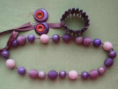 Zestaw naszyjnik drewno ocien brązu beżu fioletu
