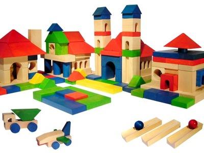 Zabawki DREWNIANE klocki XL 209 szt TOR + 2 KULKI