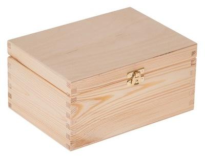 Organizér, kufrík, skrinka - DREWNIANE PUDEŁKO 22x16x10,5 z zapięciem DECOUPAGE