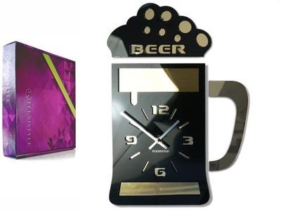 Veľké moderné nástenné hodiny pivo PIVO Zlatý