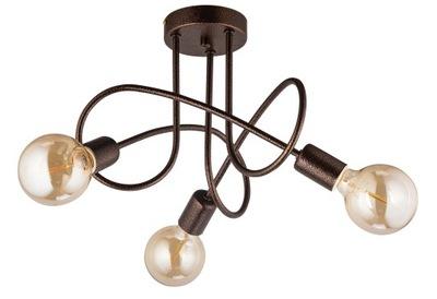 Svietidlá - Závesné svietidlá - Lampa sufitowa OSLO 3x60W miedziana Industrialna