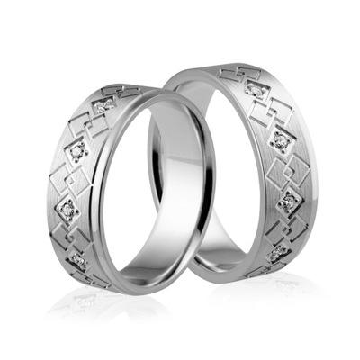 8cea403ad4 Obrączki srebrne z cyrkoniami - wzór Ag-192 5895537301 - Allegro.pl