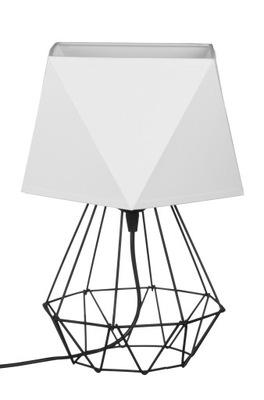 Stolové lampy - Svietidlá - Svietidlá - Stolové lampy - Lampka nocna LOFT abażur Diament druciana Biała