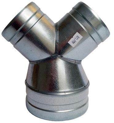 zníženie Tee 1x120/2x80mm potrubia spiro had