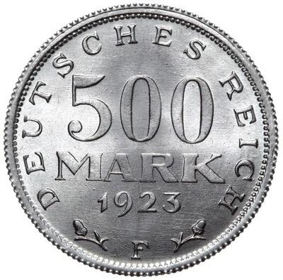 Германия - 500 Марок 1923 F - MENNICZA С ролики