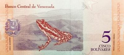Венесуэла 5 Boliwarów Лягушка 2018 P-102a