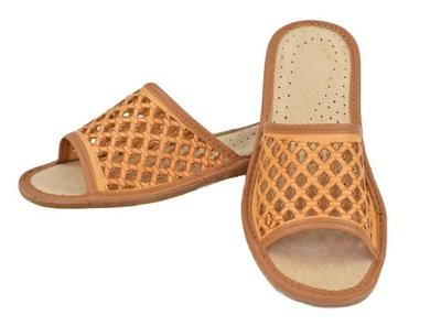 3eccdd43ae5264 Pantofle Skórzane Papcie Damskie Kapcie *38* PL 7199104780 - Allegro.pl