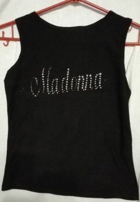 Koszulka top czarny bez rękawów Madonna S M