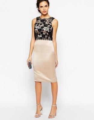 Elise Ryan sukienka z cekinowymi aplikacjami L 40
