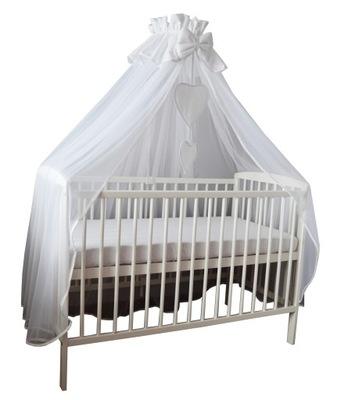 Baldachýn nad postieľku - Tylový vrchlík pokrýva celú posteľ - bielu