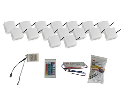Záhradné svietidlo nájazdové - 16x žiarivý dlažobný kameň LED 10X10 Holland RGB