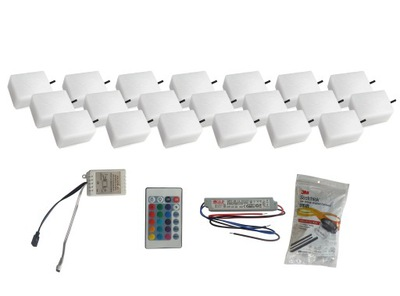 Záhradné svietidlo nájazdové - 20x žiarivý dlažobný kameň LED 9X12 Nostalit RGB