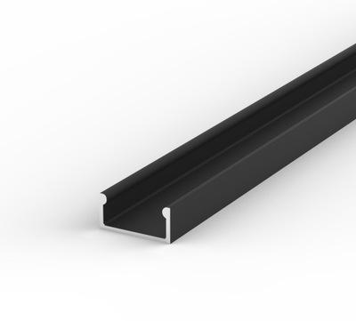 PROFIL Aluminiowy do Taśma LED + KLOSZ 2m | CZARNY