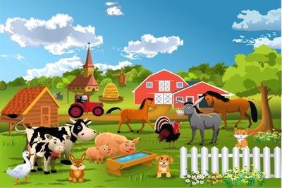 Настенные фрески для детей, ферма,трактор,животные ,l212