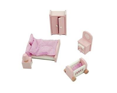 Drewniane MEBELKI dla lalek sypialnia NOWE Lelin