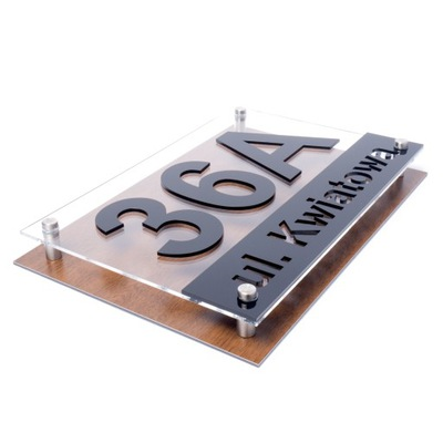 Tabliczka adresowa Tablica DREWNO 3D 30x20 RD