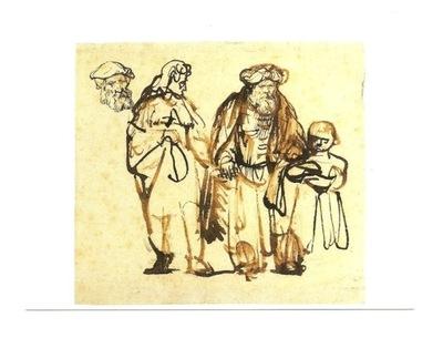 Pocztówka - Rembrandt, Abraham z Hagar i Izmaelem