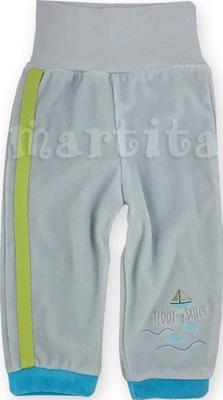 Spodnie spodenki welurowe z szerokim pasem 74 cm