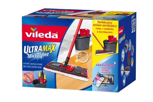 VILEDA MOP PŁASKI ULTRAMAX BOX Zestaw + ściereczka