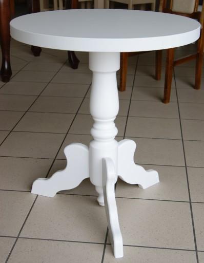 Stolik Kawowy Klasyczny Okrągły Biały Toczony