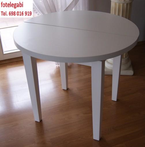 Stół Biały Okrągły Owalny 9040 Rozkładany 6799749860 Allegropl