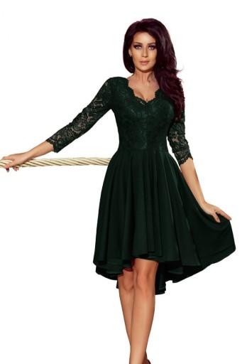 74e4c03a67 Sukienka z dłuższym tyłem z koronkowym dekoltem 40 7760543577 - Allegro.pl