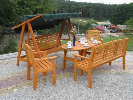 Meble Ogrodowe Eden Stol Krzesla Drewniane Zestaw 7463773546