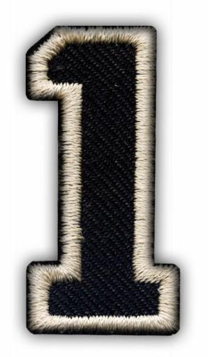 Naszywka CYFRA 1 jeden, liczba HAFT TERMO czarna