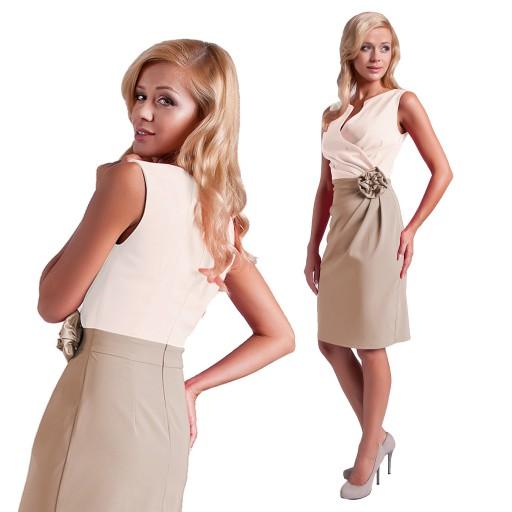 Sukienka Z Roza Unikat Na Wesele Komunie R 40 7386760245 Allegro Pl