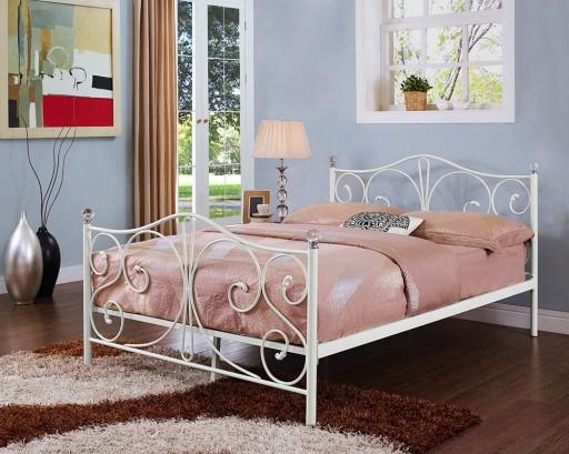 łóżko Białe Metalowe Ze Stelażem 140x200 Kryształ
