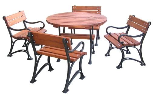 KOMPLET- meble ogrodowe -stół okrągły NOGI ŻELIWNE