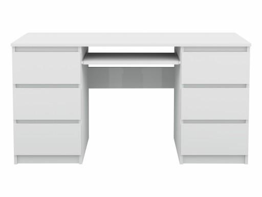 Biurko Komputerowe 6 Szuflad Stolik Laptop Białe
