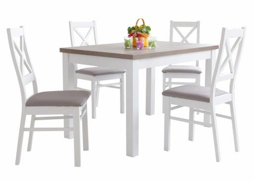Biały Stół Z Krzesłami 4 Krzesła 110x70 120x80 Cm