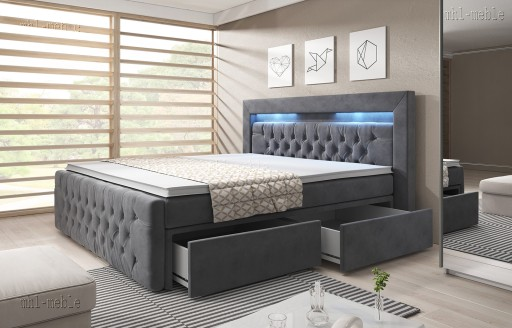 łóżko Kontynentalne Arona 160200 Led Szuflady 6765245830