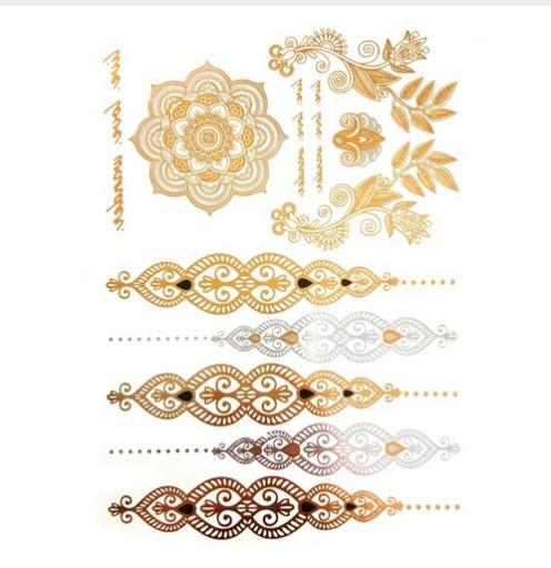 Metaliczne Tatuaże Flash Tatoo Złote Srebrne Wzory