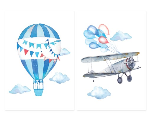 Plakaty Obrazki Balon I Samolot A4