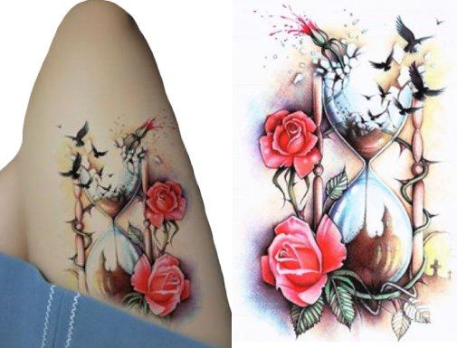 Tatuaż Klepsydra Z Ptakami Kalkomania Z Różami 146