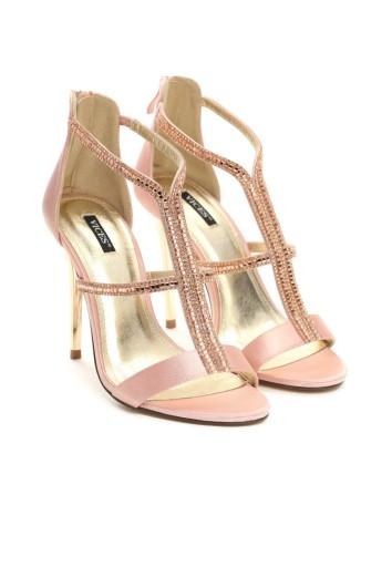 sandały na szpilce satynowe różowe