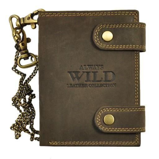 d1b65ff8a3bf4 SKÓRZANY portfel MĘSKI -Always Wild- łańcuch 7149309606 - Allegro.pl