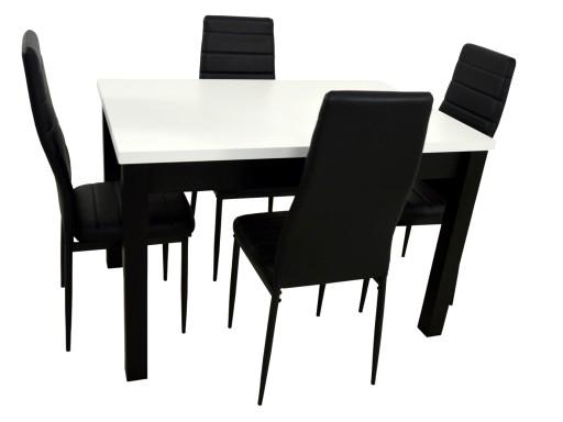 Stół I 4 Krzesła Do Kuchni Czarno Białe Nowoczesne