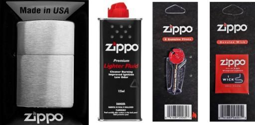 Zestaw ZIPPO Zapalniczka Benzyna Kamienie Knot