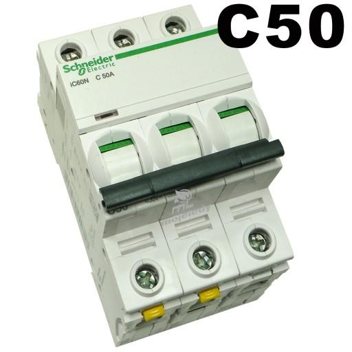 Wyłącznik nadprądowy SCHNEIDER 3P C50A bezpiecznik