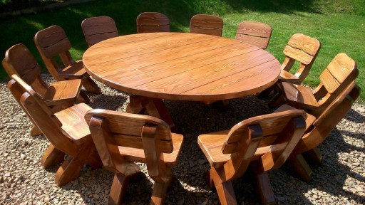 Meble Ogrodowe Drewniane Stol Z Bala Zestawy 7714299263 Allegro Pl