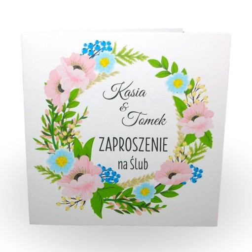 Zaproszenia Kwiaty ślub Wesele Chrzest Roczek 18 7304982427 Allegropl