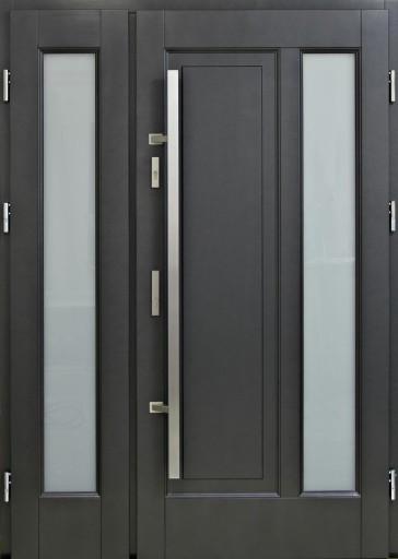 Drzwi Zewnetrzne Drewniane Antracyt Z Pochwytem 7803840283 Allegro Pl