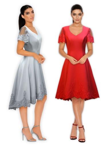 Sukienka Wizytowa Na Wesele ślub Rękawek Koronka 7141343264