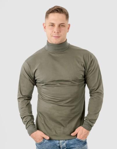 Elegancki Sweter Golf Męski Golfy WXM 5XL oliwkowy 7548622885 Odzież Męska Swetry JI RACUJI-6