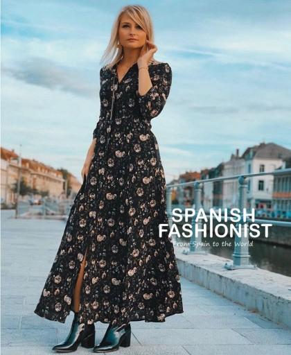 Sukienka Koszulowa w Kwiaty Maxi Zara XL